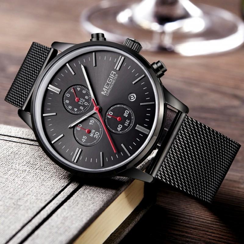 venta caliente online 85200 a28f9 Reloj Elegante Hombre Megir Cronometro Fechador Metalico